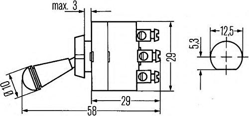 HELLA 6FG 002 312-002 Interrupteur - S28 - Commande de basculement - Nombre de connexions: 3 - Type de vis - vissé - Commutateur-inverseur - Alésage-Ø: 12.5mm - Couleur: chrome