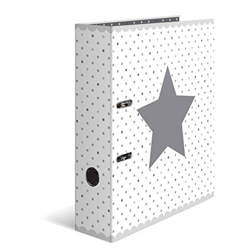 HERMA 7192 Motiv-Ordner DIN A4 Sterne - Weiß gepunktet, 7 cm breit aus stabilem Karton mit hochwertigem Innendruck, Ringordner, Aktenordner, Briefordner, 1 Ordner