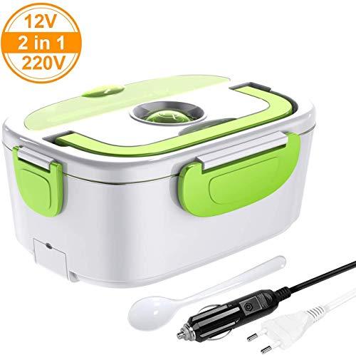 ERAY Lunch Box Elettrico 2 in 1 per Auto e Lavoro, riscaldatore da 1,5 Litri 220V e 12V 40W, Materiale per Alimenti e Acciaio Inossidabile Rimovibile,