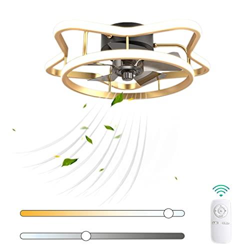 VOMI Regulable Lámpara de Ventilador 56W LED con Mando a Distancia Ventilador de Techo con Luz Moderno Creatividad Forma de Estrella Silencioso Ventilador Velocidad del Viento Ajustable para Cuarto