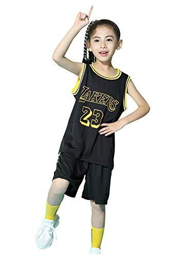 Jungenwesten Set Lakers James # 23, Basketball Fan Jersey Kleidung Sets für Jungen Mädchen, Training T-Shirt Uniform Classic Top Shorts-Black-XL