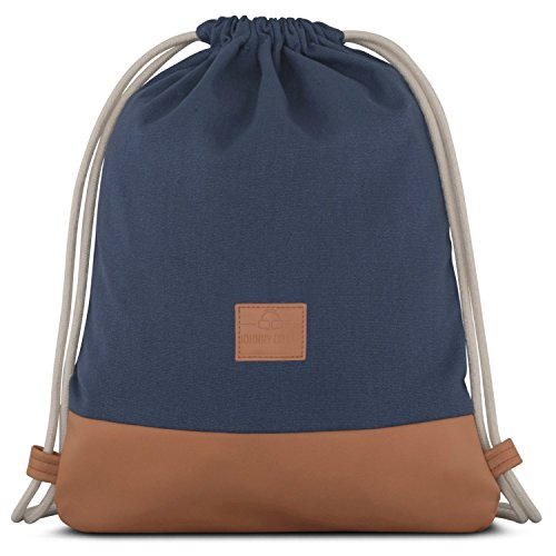 Turnbeutel Hipster Blau/Braun - JOHNNY URBAN Luke Canvas Gymsack Gym Bag Beutel Sportbeutel Rucksack für Damen & Herren mit Innentasche - Aus robustem Baumwoll Canvas und veganem Leder