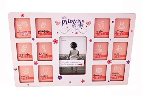 Quadro Porta retrato 12 meses 13 fotos - baby - Menina Primeiro Ano