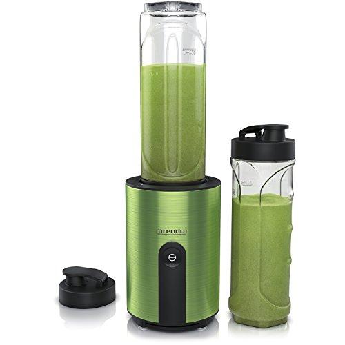 Arendo - mini Standmixer - Mix and Go Smoothiemaker - 2 x ToGo-Becher BPA frei - Edelstahlmesser 4-flügelig - einfache 1-Tastenbedienung - automatische Sicherheitsabschaltung - spülmaschinengeeignet