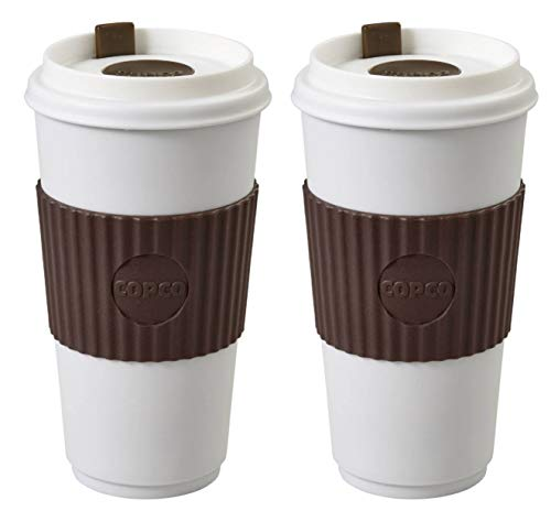 Copco To Go 16 oz. BPA Free Plastic Travel Tumbler with Slide Open Spillproof Lid, 2 Pack (Brown)