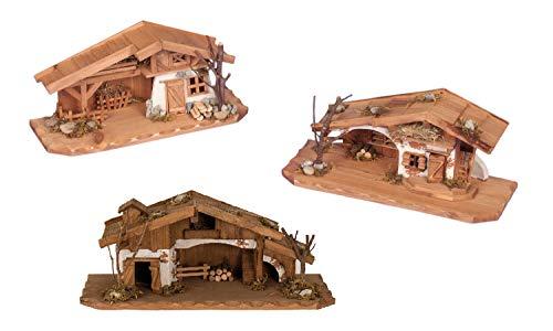 Geschenkestadl Holzhaus Krippe 33 cm x 13 cm Modellhaus