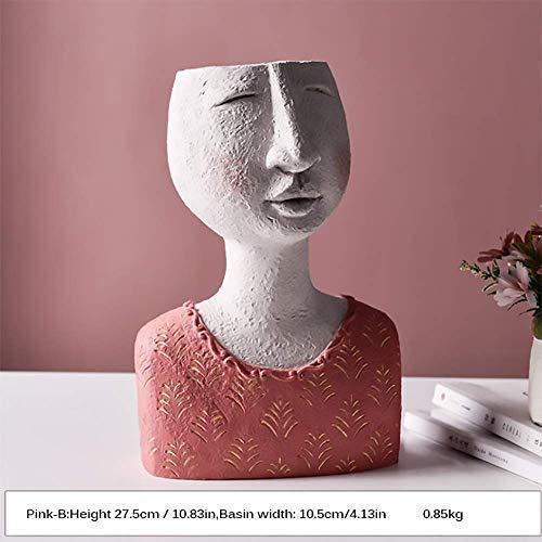 Blumentopf, Kopf Vase Gesicht Pflanzer Harz kleine Blumentopf, Indoor Sukkulenten Pflanzer, entzückende Pflanzer für Home Office Decor,Pink-B