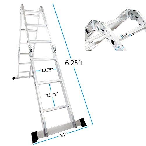 LUISLADDERS Folding Ladder Multi-Purpose Aluminium Extension 7 in 1 Step Heavy Duty Combination EN 131 Standard (12.5 Feet)