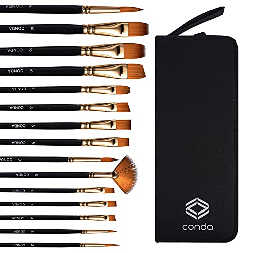 CONDA Paint Brushes Set of 15, Synthetic Acrylic Oil Gouache Paint Brushes, Wooden Handle with Carrying Case for Beginners and Professionals