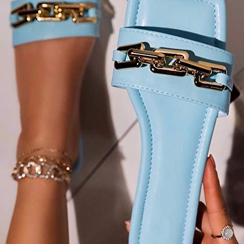 ypyrhh Sandalias Cómodo Casual Zapatos de Playa,Pantuflas Planas con Punta Abierta, Medias Pantuflas Palabra-Cielo Azul_39,Zapatillas Flip Flops Sandal