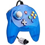 Retro N64 Mini Controller, kiwitatá Classic Wired N64 64-bit Remote Game Controller Upgraded Joystick Replacement for N64 Console System Clear Blue