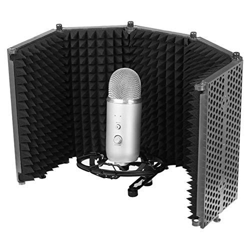 Foxlove - Aislador de micrófono ajustable plegable, protector de aislamiento de micrófono, 5 paneles, compatible con cualquier equipo de grabación de micrófono de condensador