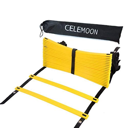 CELEMOON Upgraded Material 20-Rungs Agility Speed Training Ladder + Black Carry Case, with Connecting Snap, Ideal for Soccer, Football, Fitness, Feet Training, Yellow