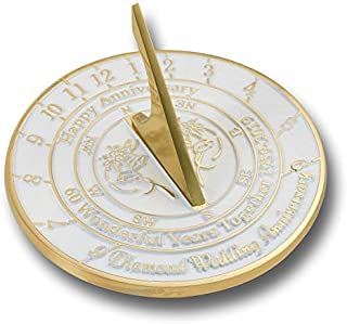 The Metal Foundry 60th Diamond Wedding Anniversary 2019 Sundial Gift Idea is A Great Present for Him, for Her Or for A Couple to Celebrate 60 Years of Marriage