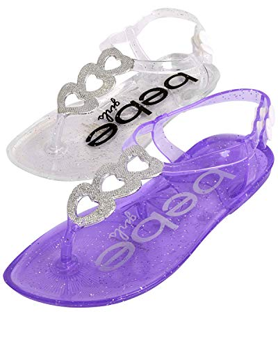 bebe Girls Jelly Sandals with Glitter Hearts and Side Snap Closure (2 Pack), Purple/Clear, Size 7-8 Toddler''