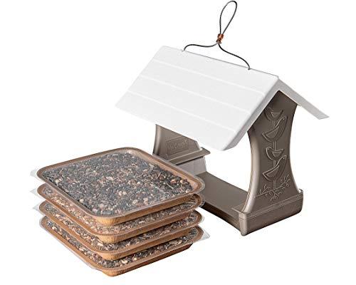 Mr. Canary Bird & Breakfast Bird Feeder, Plus 4 'EveryBirdy Loves It' En-Trays, No-Clean Bird Feeder, Easy