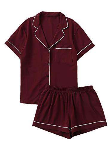 Floerns Women's Notch Collar Short Sleeve Sleepwear Two Piece Pajama Set Burgundy XL
