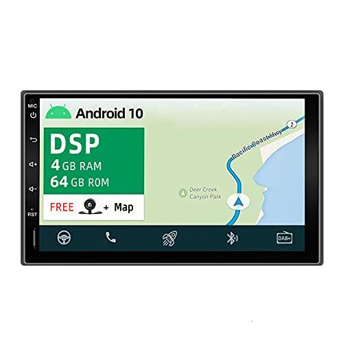 YUNTX PX6 Android 10 2 DIN Autoradio - 4G+64G - Incorporado DSP - Gratis Camara - Soporte Dab / GPS / Control del Volante / 4G / WiFi / Mirrorlink / OBD / CarPlay / USB / AHD / 4K / Bluetooth 5.0