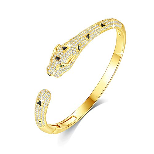 Panther Bangle Bracelet for Women with Top Cubic Zirconia Cuff Jewelry by Vicision -VB11 Gold