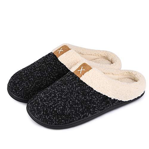 VeraCosy Komfortable Herren Memory Foam Hausschuhe, wollähnliche Plüschflausch gefütterte Pantoffeln mit Gummisohle für Drinnen und DraußenGr.42/43 EU-Tiefes Schwarz