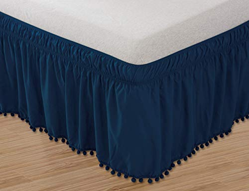 Celine Linen Luxury Top-Knot Tassle Pompom Fringe Ruffle Bed Skirt -Wrap Around Style- Elastic Bed Wrap- Wrinkle Resistant 16inch Drop, Queen/King, Navy Blue