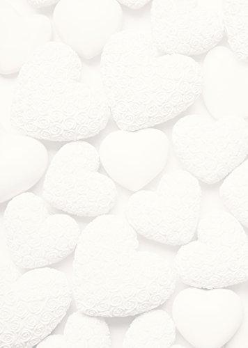 25 Blatt Briefpapier Druckerpapier blanko WEISSE HERZEN beidseitig bedruckt 100g Schreibpapier Motiv-Papier DIN A4 Brief-Bogen altweis shabby Hochzeit Geburtstag Valentinstag
