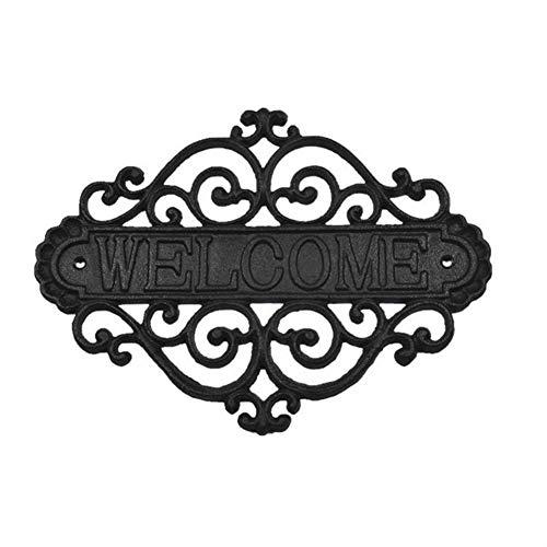 CVERY - Targa da Parete in ghisa, con Scritta in Lingua Inglese Welcome per Porta d'ingresso, placca Rustica per Bar, caffè, Portico, Decorazione per la casa, Come Mostrato, Taglia Libera