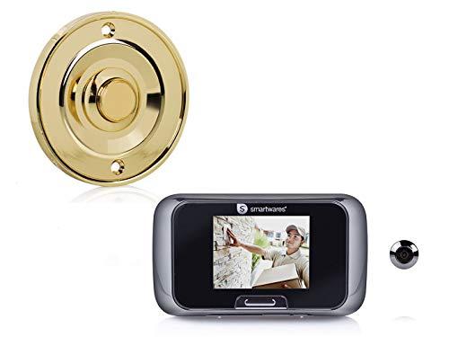 Set: bel knop messing rond + deurspion met camera, bel 1 familiehuis