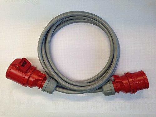CEE Verlängerungskabel 16A 5 polig mit YSLY-JZ 5x2,5 qmm 400V Kabel grau ab 5 m, Länge:10 m