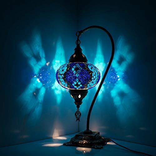 Lámpara de mesita de noche, estilo turco, estilo marroquí, hecho a mano, colorido mosaico de cristal, lámpara de mesa, lámpara de cabecera, con cuello de cisne con bombilla LED, globo grande