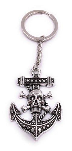 H-Customs Anker Tot Totenkopf Maritim Schlüsselanhänger Anhänger Silber aus Metall