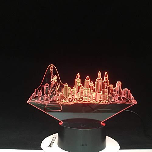 Lámpara de mesa 3D de la ciudad de Nueva York Acrílico LED multicolor Usb multicolor cambio luz de noche regalo
