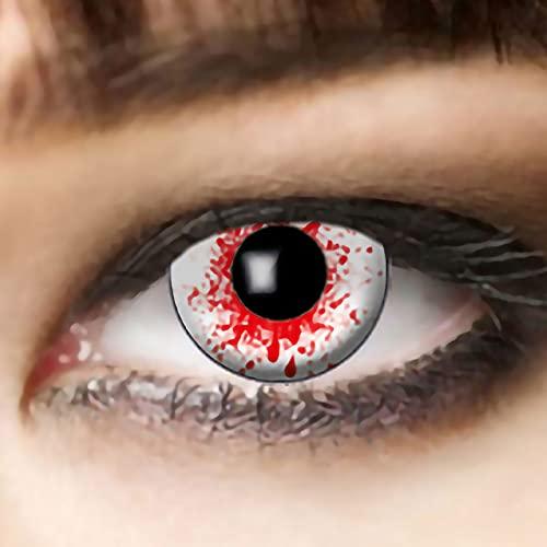 Lentillas de Colores con Salpicaduras de Sangre roja, lentillas Zombies, inyectadas en Sangre, lentillas Halloween, lentillas Zombies Blancas, lentillas de Colores, Drácula Blanco