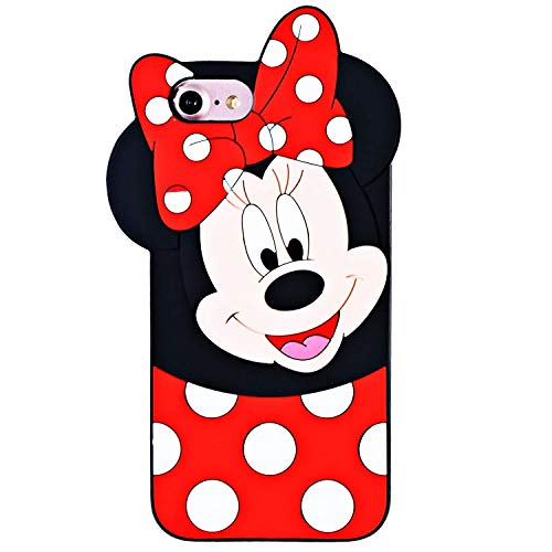 Leosimp Minnie - Carcasa para iPhone, Compatible con iPhone 7 iPhone 8 iPhone 6s iPhone 6, Color Negro