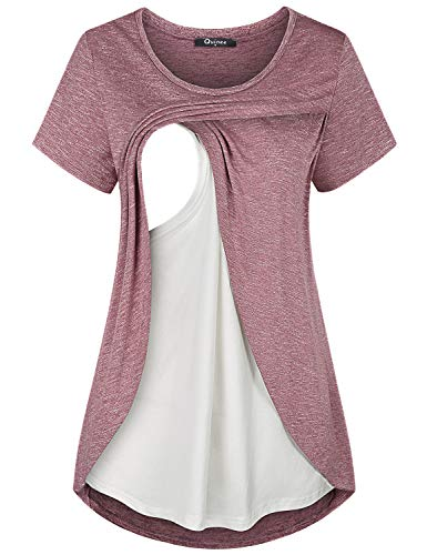 Quinee Maternity Nursing Tops, Women Crew Neck Short Sleeve Breastfeeding Shirts Fashion Tunic for Leggings Double Layer Comfortable Cotton Knitted Pumping Clothes Rose Red L