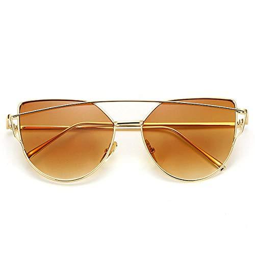 chuanglanja Gafas De Sol Vogue Mujer Gafas De Sol Ojo De Gato Para Mujer Gafas Reflectantes De Metal Vintage Para Mujer Espejo Retro-Color-G