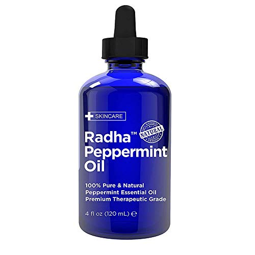 Radha Beauty Peppermint Essential Oil 4 oz - 100% Pure & Therapeutic Grade, Steam Distilled for Aromatherapy, Fresh Minty Scent, Mental Focus, Headaches, Congestion