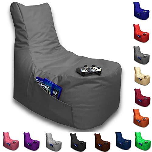 Sitzsack Big Gamer Lounge Ø 80cm Sessel mit EPS Sytropor Füllung In & Outdoor Erwachsene Riesensitzsack Sitzsäcke Sessel Kissen Sofa Sitzkissen Bodenkissen Gaming (Anthrazit)