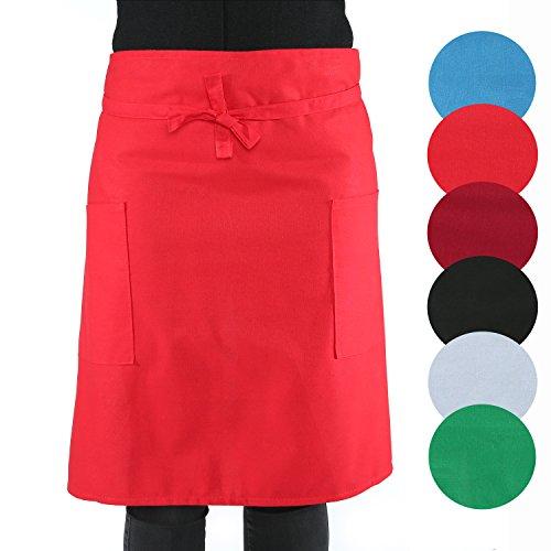 sinnlein® Vorbinder Kochschürze Küchenschürze 100% Baumwolle | mit 2 Taschen | 6 Farben wählbar - perfekt auch als Grillschürze und Backschürze (Rot)