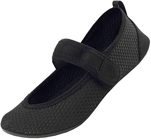 Nzcm Barfussschuhe Frauen mit Klettverschluss Badeschuhe Herren Schnell Trocknend Wasserschuhe Damen Strand Aqua Schuhe, 42/43 EU, Schwarz