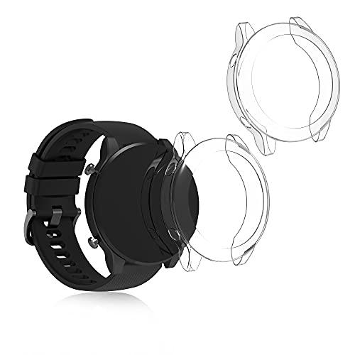 kwmobile 2X Carcasa Compatible con Xiaomi Mi Watch Color Sports Edition - Funda para Fitness Tracker en Transparente