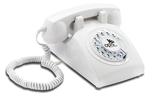 OPIS 60s Cable con Logo de Opis Technology: Teléfono Estilo Retro/teléfono Vintage de los años Sesenta con Disco de marcar (Blanco)