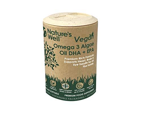 Vegan Omega 3 Algae Oil DHA + EPA, High Concentrate, 60 Vegetarian...