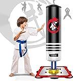 Dripex Sac de Frappe sur Pied Boxe Enfant Debout Libre Robuste Sac de Punching Kick Appareil d'entraînement (Noir)