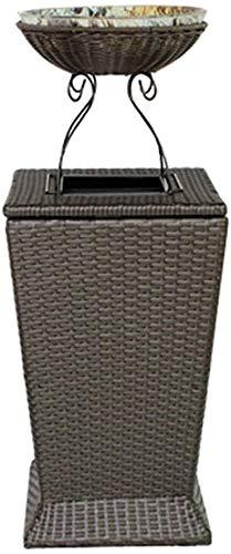 Pkfinrd Recycler Bin/Indoor Vuilnisbak Buiten Vuilnisbak Kan Hars Rieten Vuilnisbak Met Bloempot voor Deck of Patio Outdoor Vuilnisbakken (Kleur : Met asbak)