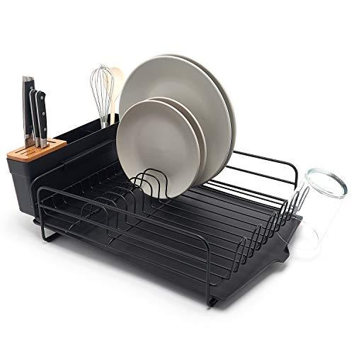 simplywire Grand égouttoir à vaisselle avec bac d'égouttement et porte-couverts Noir