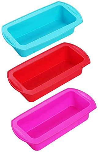 3 Pack Silicone Loaf Pans ? Non-Stick Reusable Loaf Pan for Homemade Cake, Break, Meatloaf