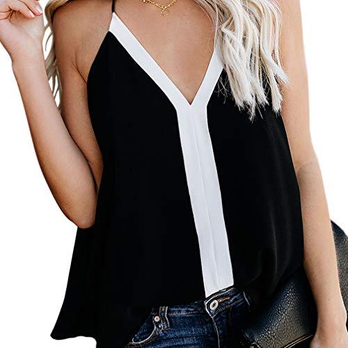 Hbysgj Camiseta de tirantes sin mangas con cuello en V y color contrastante para mujer