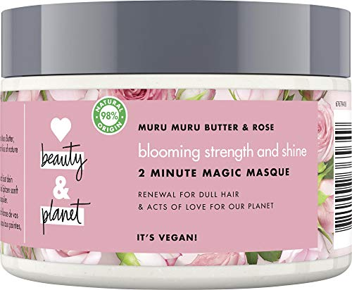 Love Beauty And Planet Blooming Strength & Shine Haarmaske, für strapaziertes Haar Murumuru Butter & Rose silikonfrei, 1 Stück (300 ml)