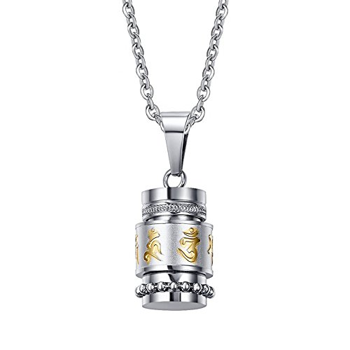 Purmy Edelstahl Herren Anhänger Asche,Tibet Om Mani Padme Hum Buddha Amulette Gebets,mit Halskette 50 cm/60 cm